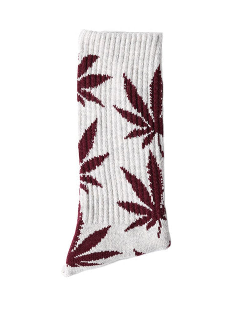 Plantlife Crew Socks Grey/burgundy