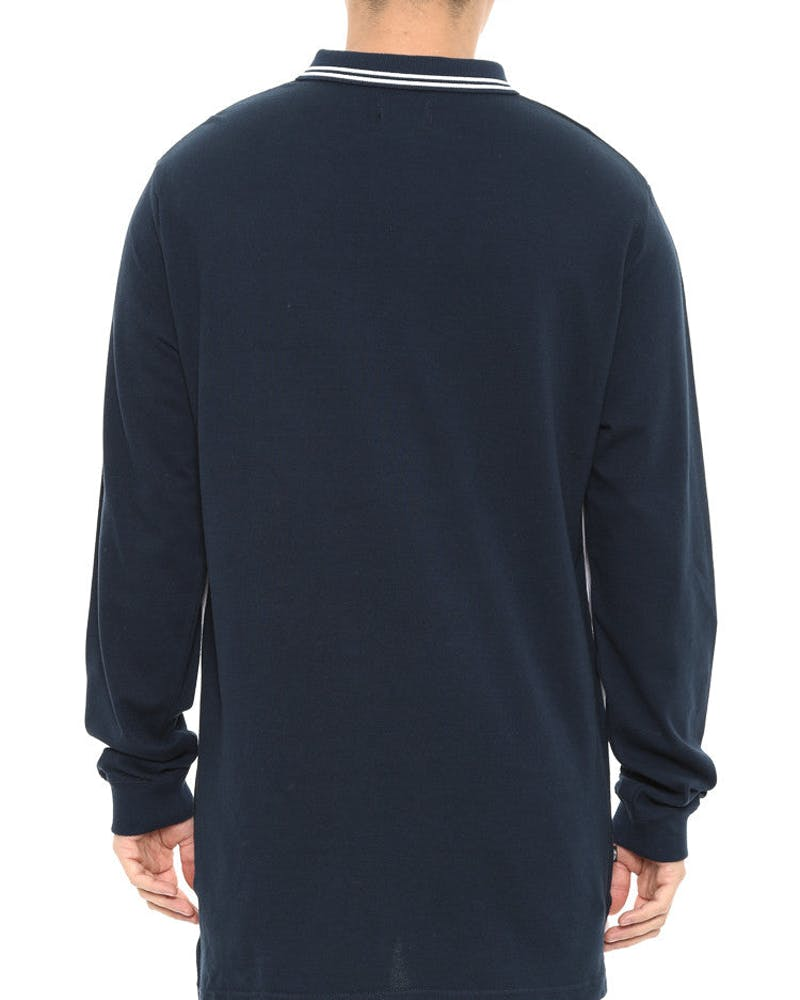 Link Tape Long Sleeve Polo Top Navy/white