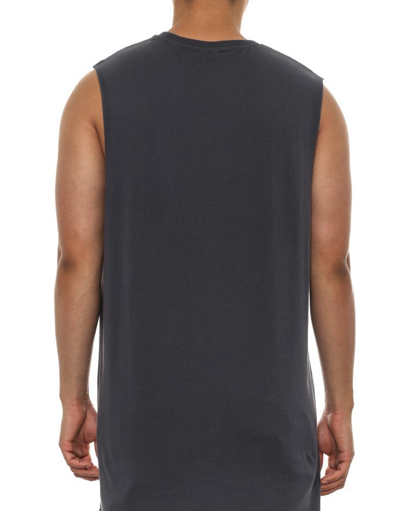 Basic Tall Muscle Tee Washed Out Navy
