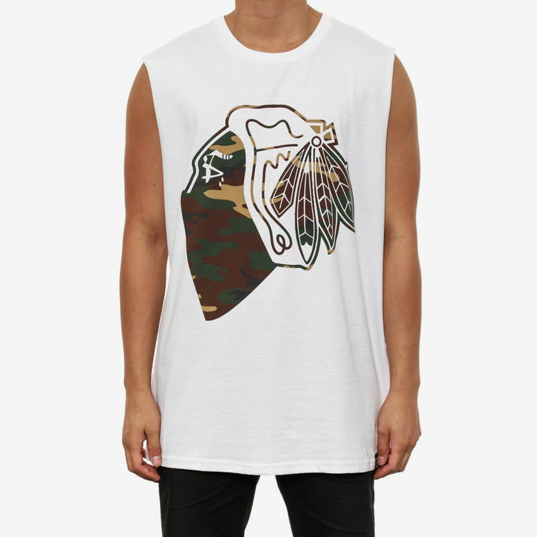 Camo Native Muscle T White
