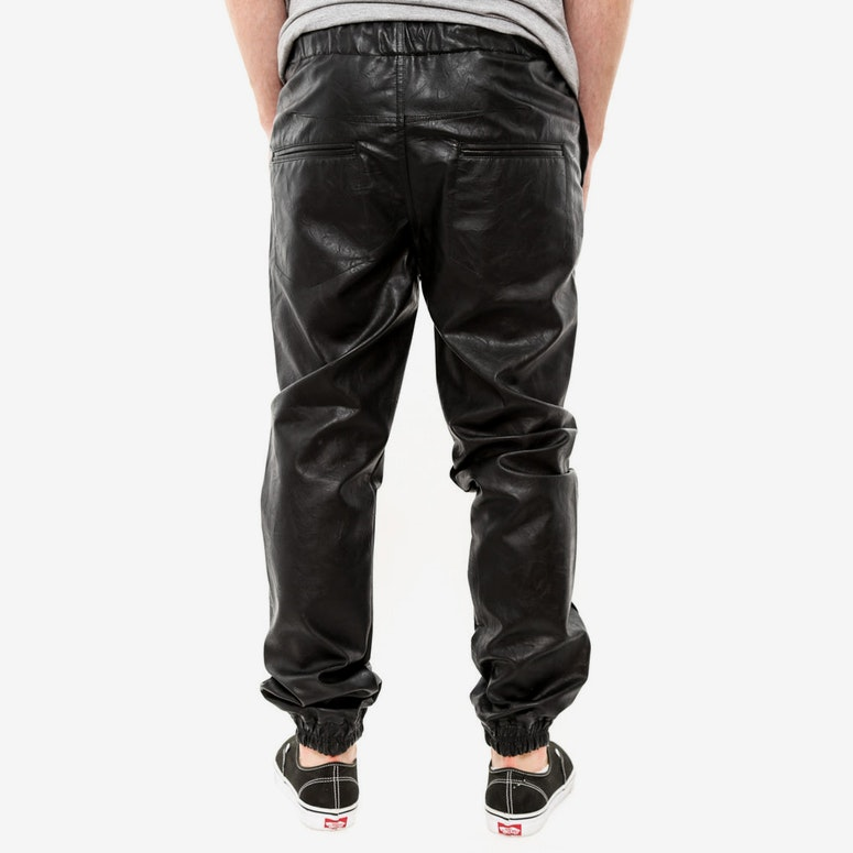 PU Leather Flight Pant Black
