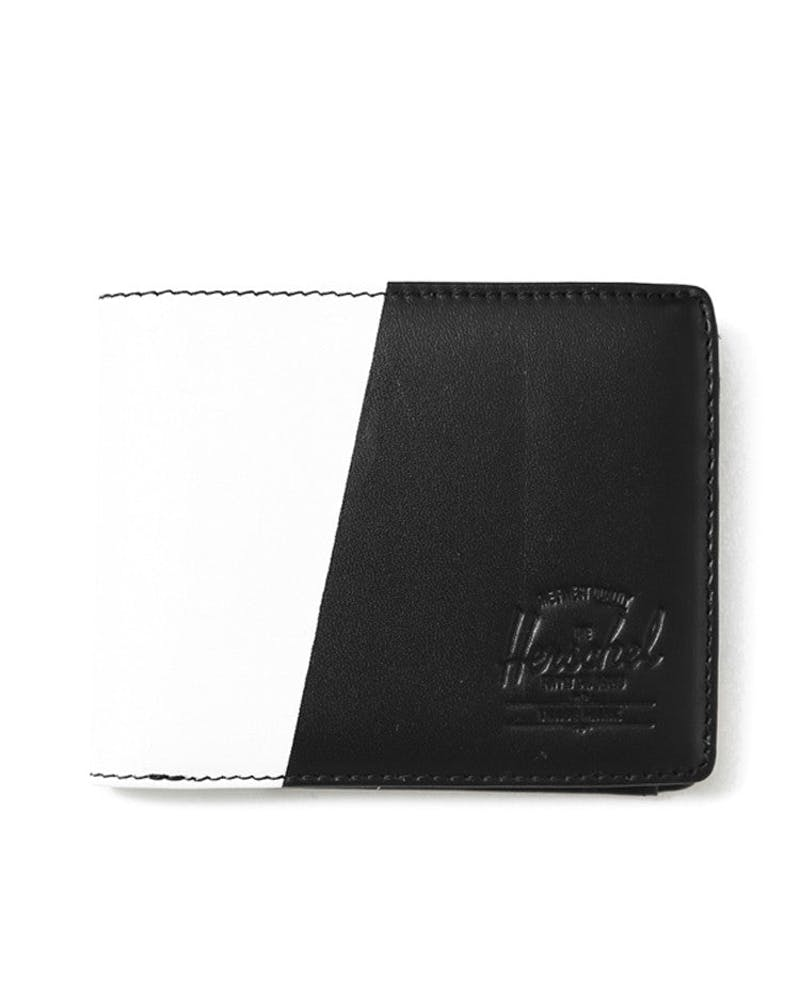 Hank Wallet Leather+coin Black/white