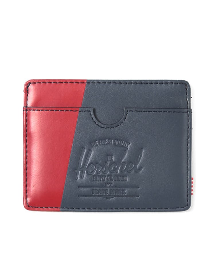 Charlie Leather Wallet Navy/red