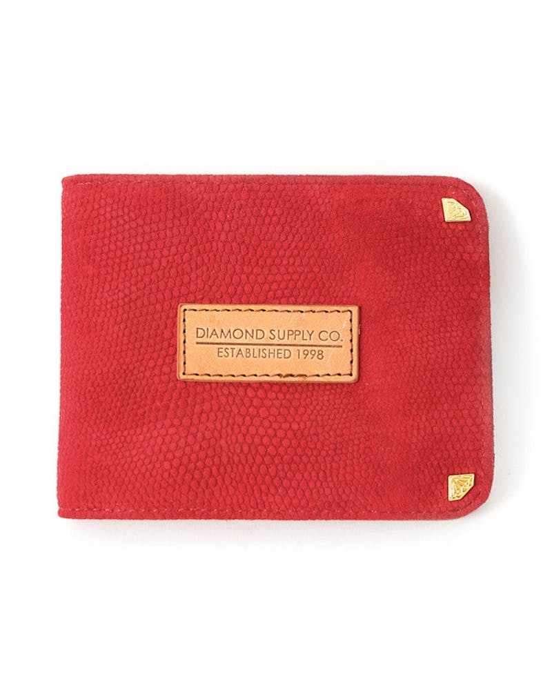 Bifold Suede Liz Wallet Red